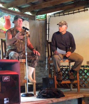 The author (left) and Roger Gunter telling stories at the Welaka Lodge and Resort, 2014.